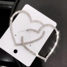 AENSOA Shinning Luxury Crystal Big Long Earrings For Women Fashion Trendy Rhinestone Statement Party Wedding Jewelry