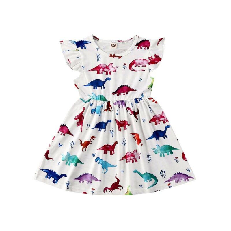Toddler Kids Baby Girls Dinosaur Print Dresses Sleeveless High Waist Dress Sundress Party Princess Clothes