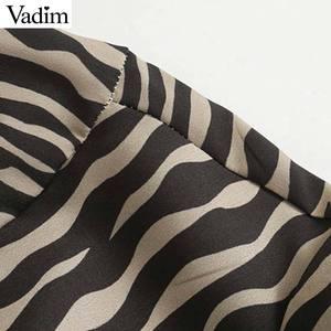 Image 4 - Vadim Nữ Vintage Họa Tiết Hình Thú Đầm Midi Tay Dài Thắt Nơ Buộc Tất Casual Nữ Kiểu Dáng Thời Trang Sang Trọng Áo Vestidos QD159