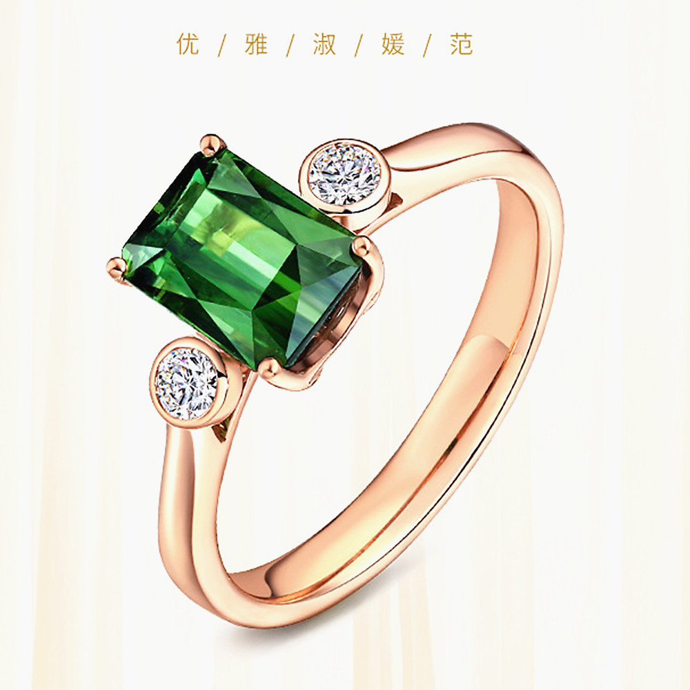 Fashion tiny green crystal emerald gemstones diamonds rings for women rose gold color jewelry bague bijoux gifts accessory new
