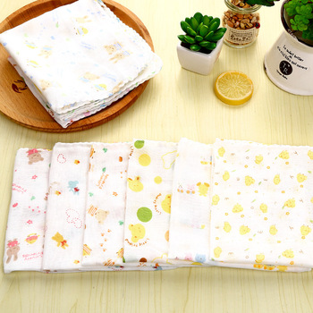 Baby Organics Washcloths Infant Handkerchief Pure Knitted Cotton Gauze Muslin Bath Towel Soft Towel For Baby Kids Random Color image