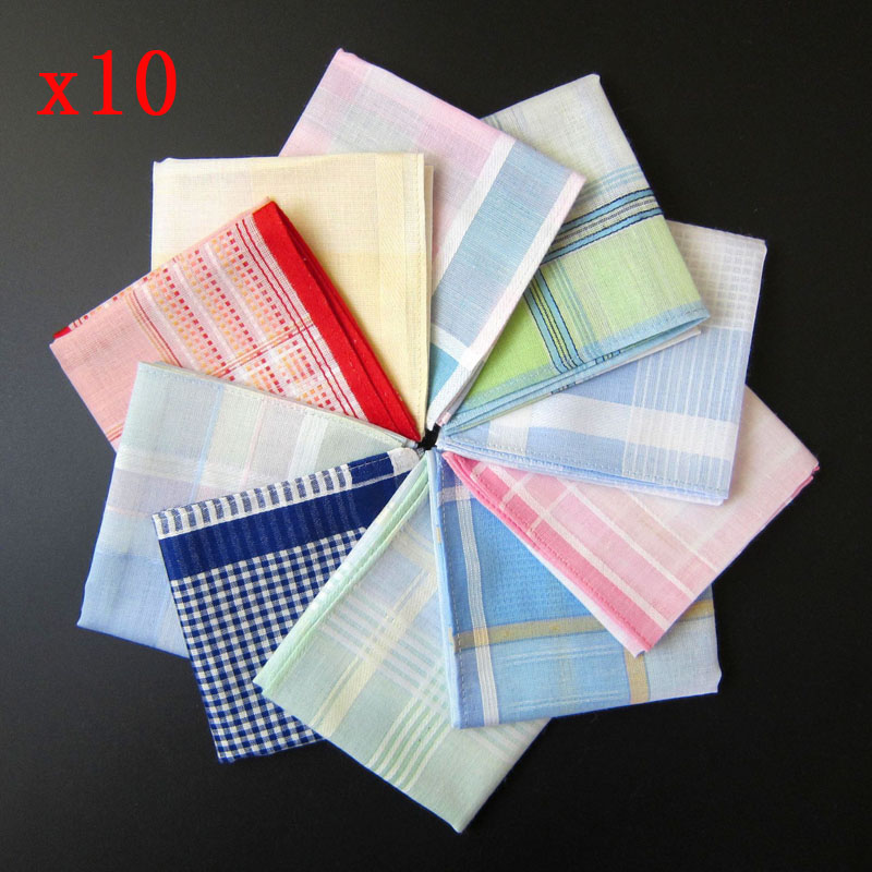 10pcs/lot Handkerchief Women Cotton Pocket Squares Stripe Men Suit Handkerchief Hankies For Wedding Casual Towel 28*28CM Hanky