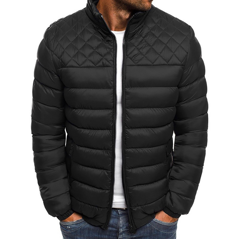 Outerwear Clothing Warm Coats 2019 Winter Jacket Men Long Sleeve Quilted Padded Thick Jackets Parka Slim Fit Windbreaker