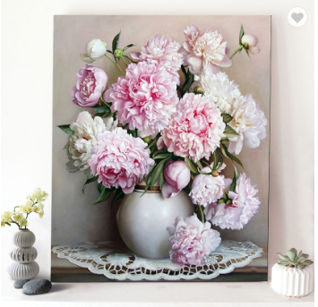 Bouquet Peony Flowers Still Life Canvas Picture Acrylic Oil DIY Paint by Numbers