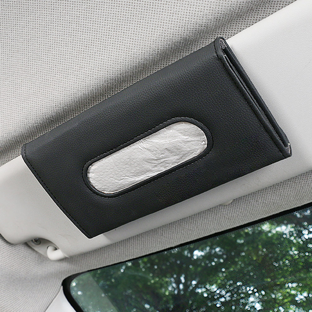 Car Sun Visor Leather Tissue Box Paper Napkin Seats Back Holder Outdoor Personal Car Parts Decoration for Auto Storage