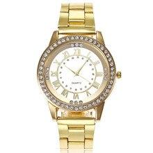Luxury Watches Women Fashion Crystal Gold Stainless Steel Quartz Female Watch Clock 2019 reloj mujer