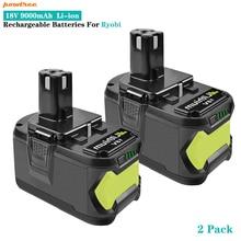 Литий-ионные аккумуляторы Powtree 18 в 9000 мАч P108 для электроинструментов Ryobi ONE BPL1820 P103 P109 P106 P105 P104 RB18
