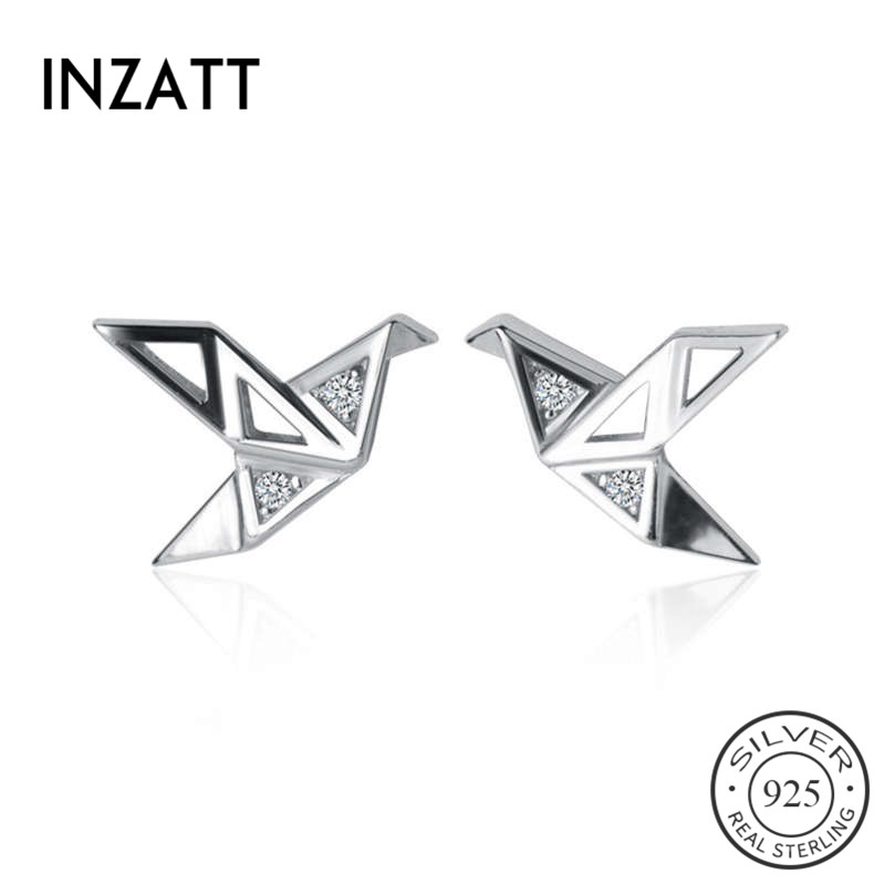 INZATT Real 925 Sterling Silver Minimalist Zircon Crane Stud Earrings For Fashion Woman Party Trendy Fine Jewelry Accessories