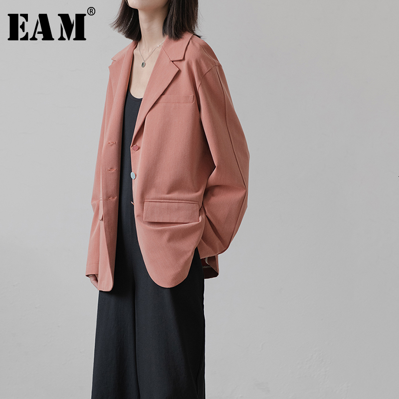 [EAM]  Women Button Spliced Blazer New Lapel Long Sleeve Loose Fit  Jacket Fashion Tide All-match Spring Autumn 2019 1B623