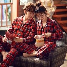 Womens Winter Suits Couple Plaid Pyjama Set Women Pajamas Cotton Long Sleeve Pijamas Ladies Casual Sleepwear Big Size M-XXL