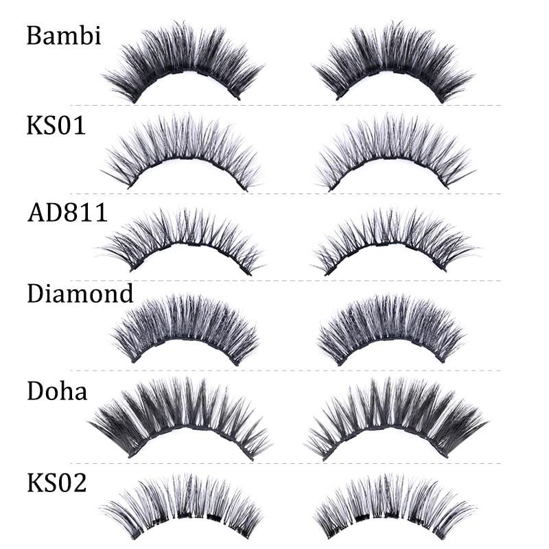 2Pairs Magnetic Eyelashes 3D False Mink Eyelashes Magnet Lashes Magnetic Liquid Eyeliner&Magnetic False Eyelashes & Tweezer Set 2