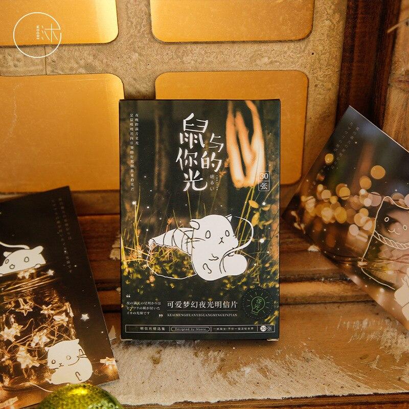30 Pcs/Set Cute Mouse Luminous Postcard Cartoon Greeting Cards Message Card DIY Journal Decoration