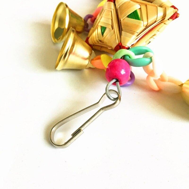 Perroquet jouets suspendus cloche Cage jouets pour perroquets oiseau écureuil drôle chaîne balançoire jouet animal oiseau fournitures herbe naturelle tissé jouet - 4
