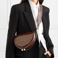 Alligator Crossbody Bags for Women Half Circle Cover Shell Bag Solid Pu Leather Luxury Handbag Ladies Designer Shoulder