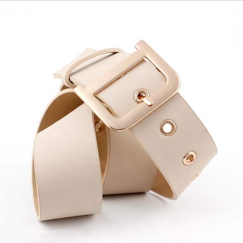 Luxury Belt With Metal Buckle Black Wide Leather Women Waist Belts White Brown Ladies Dress Corset Belts cinturones para mujer