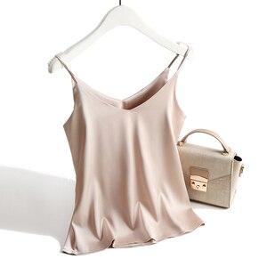 Image 5 - สปาเก็ตตี้ผู้หญิง Halter V คอ Basic สีขาว Cami แขนกุดผ้าไหมซาติน TANK Tops ผู้หญิงฤดูร้อน 2020 Camisole PLUS ขนาด