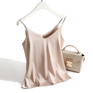 Image 5 - Spaghetti Strap Top Women Halter V Neck Basic White Cami Sleeveless Satin Silk Tank Tops WomenS Summer 2020 Camisole Plus Size