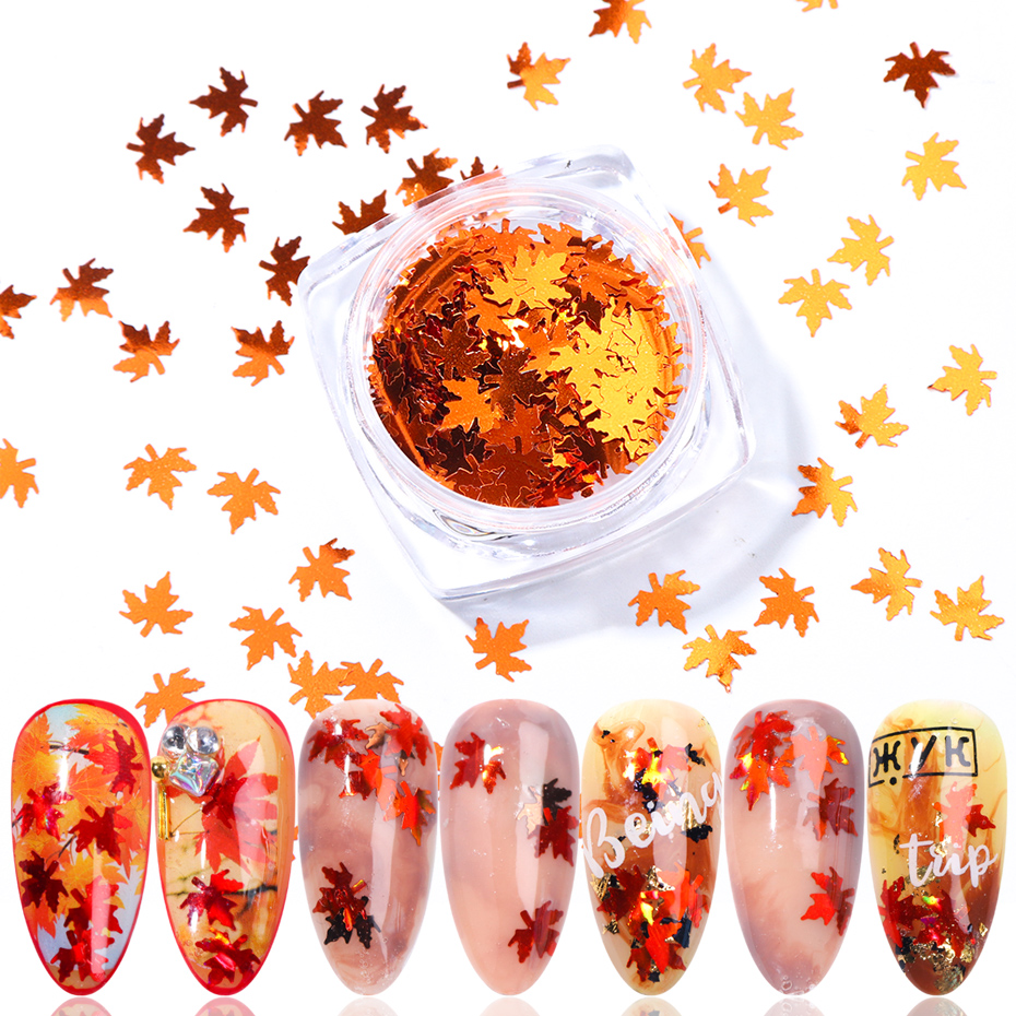 1 Box Maple Leaf Nail Sequins Flakes Laser Mirror Glitter Holographic Paillettes Fall Nail Art Design 3D Sticker Manicure TR1528