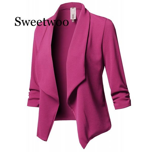 SWEETWOO 10 Colors Optional Plus Size S-5XL Blazer Women Suit Jacket Casual Slim Blazer Womens Tops And Blouses