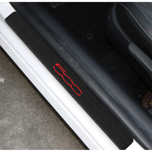 4PCS Car Door Sill Guard Sticker Film for FIAT 500 Carbon Fiber Stickers Automobile Interior Accessories