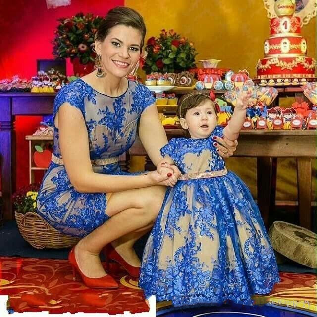 Royal Blue Long Baby Girls Dresses Big Bow Flower Girl Dresses Applique Mother Daughter Pageant Dress First Birthday Dresses