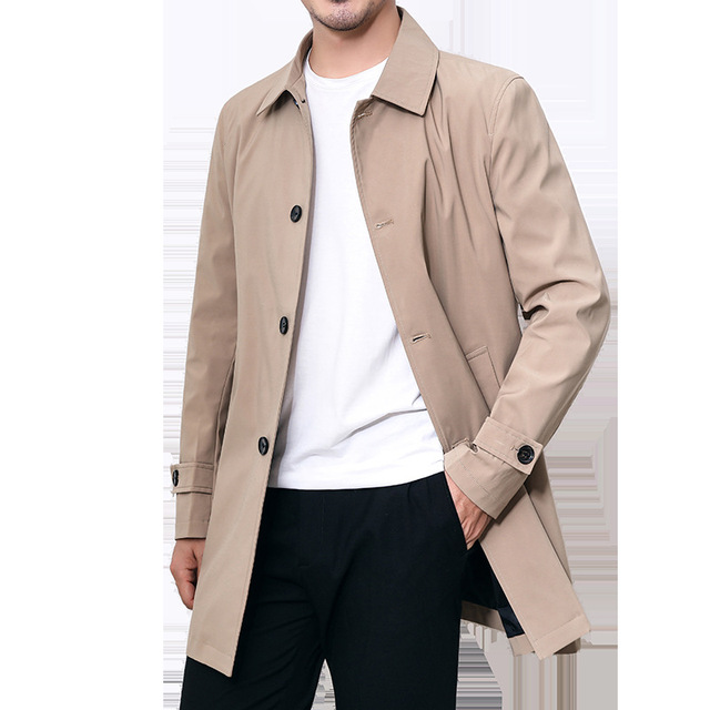 Mens Overcoat Business Casual Autumn Winter Coat Thick Windbreaker Fashion Khaki Long Trench Coat Men Xxxl 4xl Outerwear Boy Hot 6