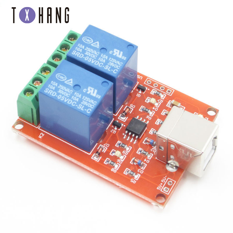 5V 2 Channel USB Relay Control Switch Programmable Computer Electronics Tantalum <font><b>Capacitor</b></font> for Smart Home <font><b>PC</b></font> diy electronics image