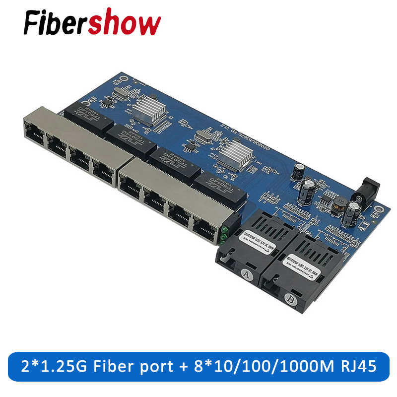 10/100/1000M Gigabit Ethernet Switch Ethernet Fiber Optical Media Converter Single Mode 8 RJ45 UTP And 2 SC Fiber Port Board PCB