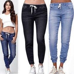 Calças de brim femininas mulher plus size feminino elástico mais solto denim drawstring mais calças de brim recortadas tallas mujer sheinside calças # g2