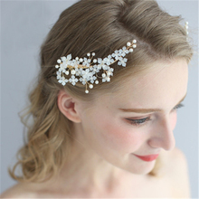 FIAZIA Bridal Hair Stick Women Jewelry Wedding Accessories Bridal Hair Clip Bride Headdress Handmade Women Pearls Headpiece Pin slbridal handmade crystal rhinestone pearls flower wedding hair clip barrettes bridal headpiece hair accessories women jewelry