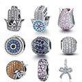 WOSTU 100% Echt 925 Sterling Silber Dazzling Zirkon Charme Perlen Fit Original DIY Armband Anhänger Halskette Silber 925 Schmuck