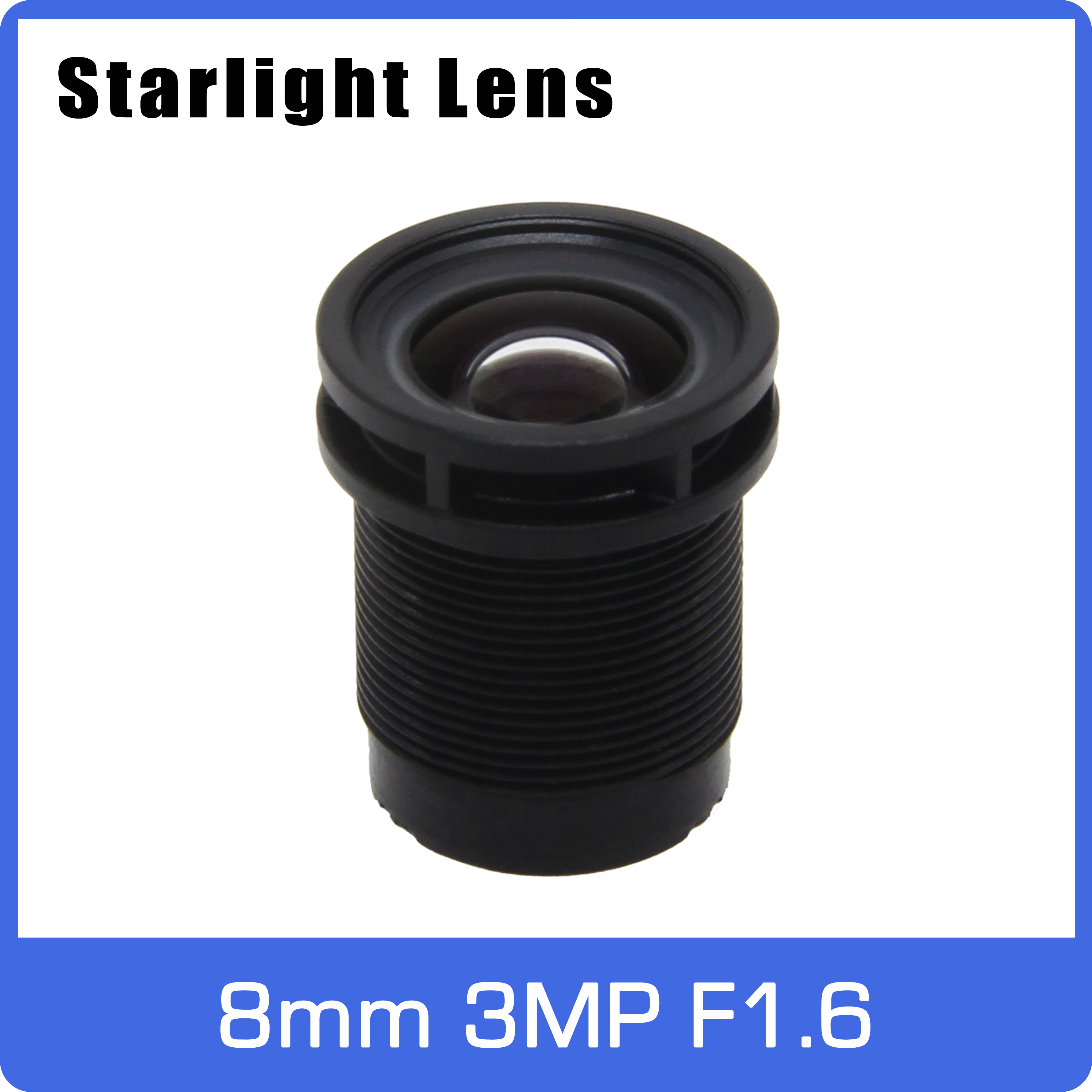 Starlight Lens 3MP 8mm Fixed Aperture F1.6 Big Angle For SONY IMX290/291/307/327 Low Light CCTV AHD IP Camera Free Shipping