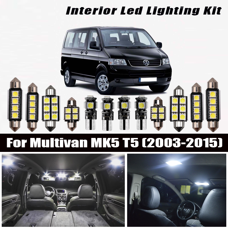 20pcs Bright Auto Interior <font><b>LED</b></font> <font><b>Light</b></font> Bulbs White Canbus Kit For <font><b>VW</b></font> For Multivan MK5 <font><b>T5</b></font> (2003-2015) Map Dome Vanity Mirror Lamp image