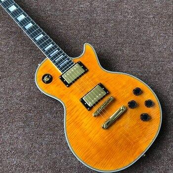10s custom gf custom 50s flame sunburst aged Custom Tiger Flame electric guitar,orange gitaar,Golden hardware.handmade 6 stings guitarra.real photos