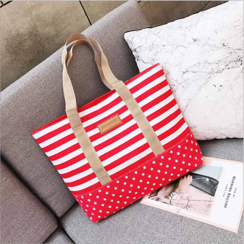 Free Shopping Handbag High Quality Women Girls Canvas Large Striped Summer Shoulder Tote Beach Bag Colored Stripes 2