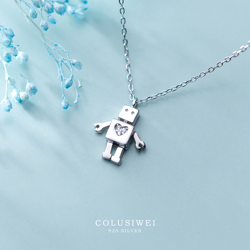 Colusiwei High Quality 925 Sterling Silver Lovely Robot With Heart Pendant Necklaces for Women Female Sterling Silver Jewelry