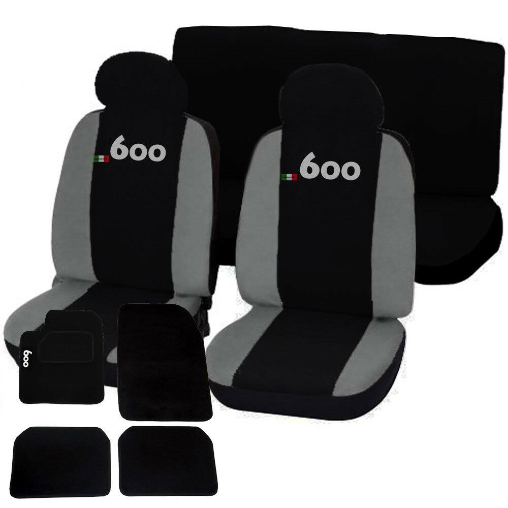 COPRISEDILI + TAPPETINI AUTO CON STRAPPO LOGO FIAT 600 NERO - GRIGIO CHIARO