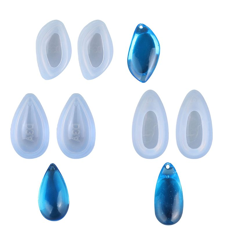 Free Shipping 6Pcs 3 Shapes Teardrop Earrings Pendant Mold Epoxy Resin Jewelry Making Tools