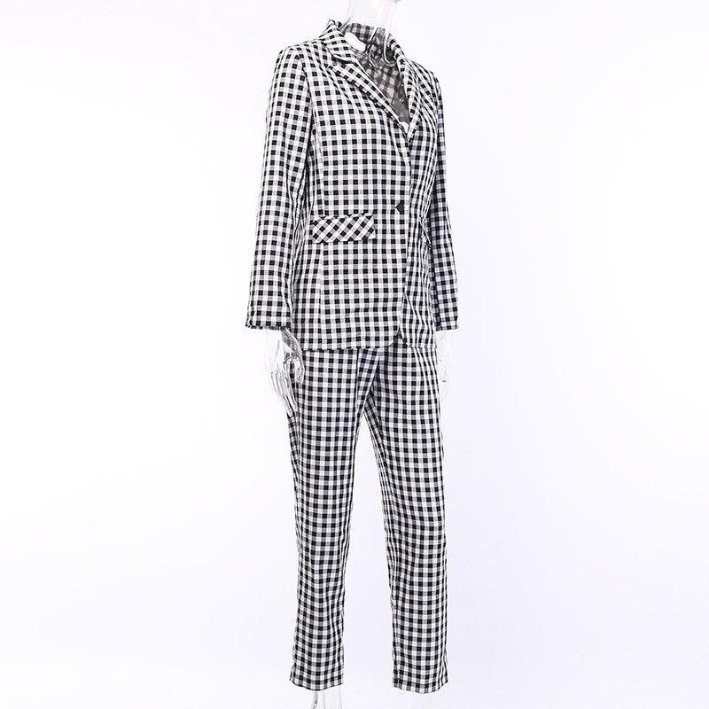 Preto branco xadrez feminino blazer terno conjunto de manga longa escritório senhoras elegante calça ternos feminino casual streetwear calças terno - 4
