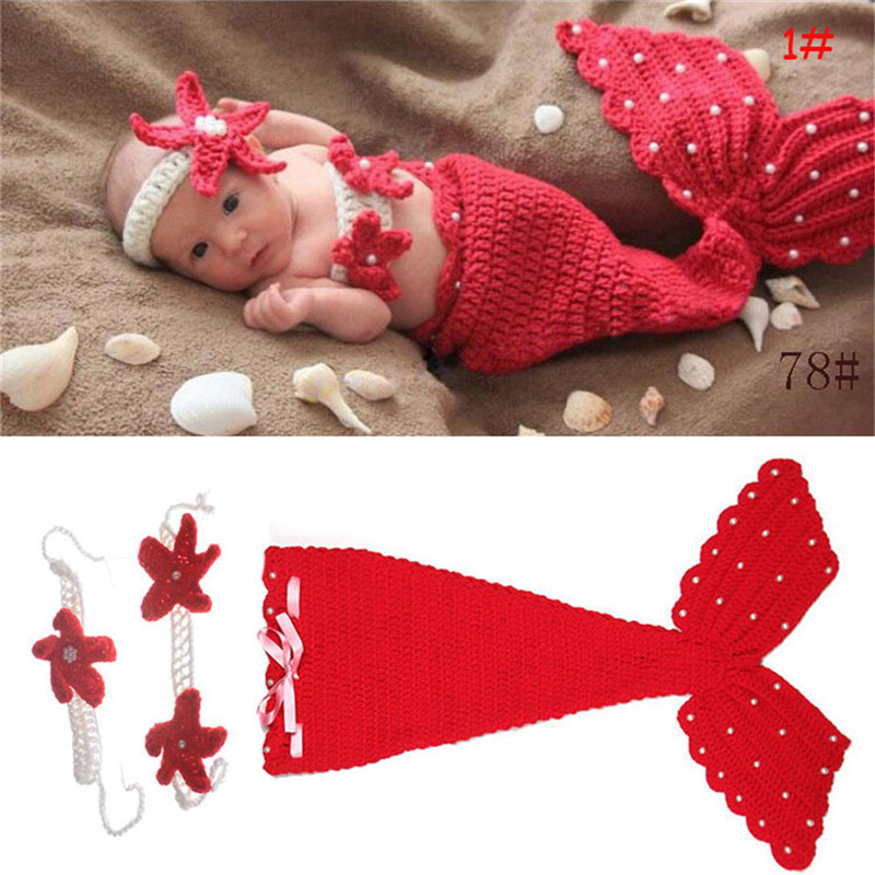 Baby Hat Mermaid Newborn Photography Props Girls Crochet Knitted Cap Hand-woven Photo Costume Props Hats 0-6M