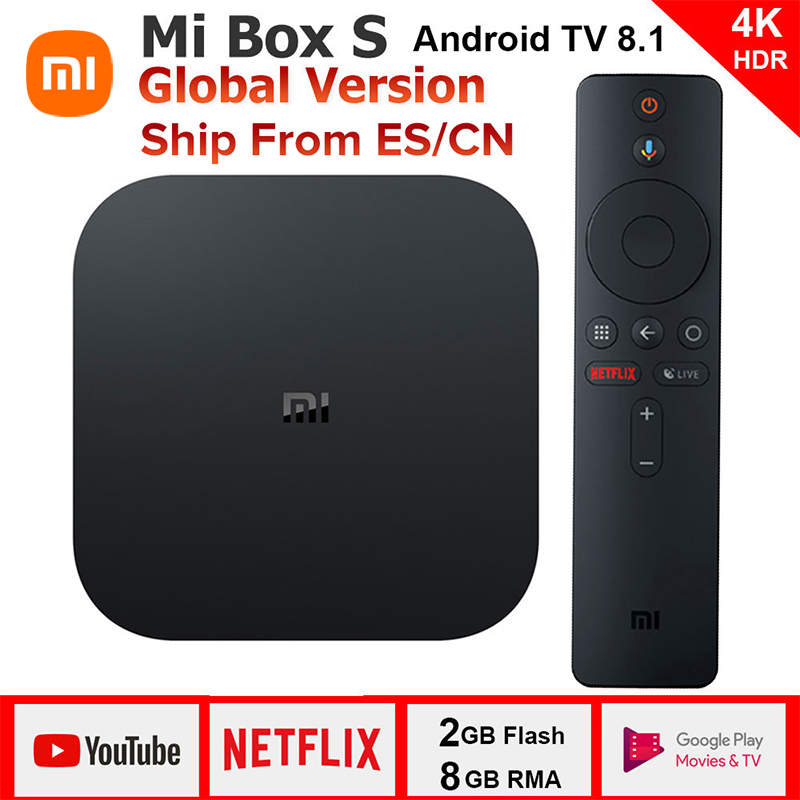 Original Xiaomi MI BOX S 4K Quad Core 3 Android 6.0 2G/8G Smart HDR Movie Set-top Box Multi-language Netflix YouTube Google