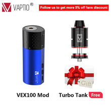 {RDTA Tank Gift} Vape Mod Electronic Cigarette Vaptio VEX 100 Box Mod Vaper 510 Thread Powered By 21700/20700/18650 No Battery(China)