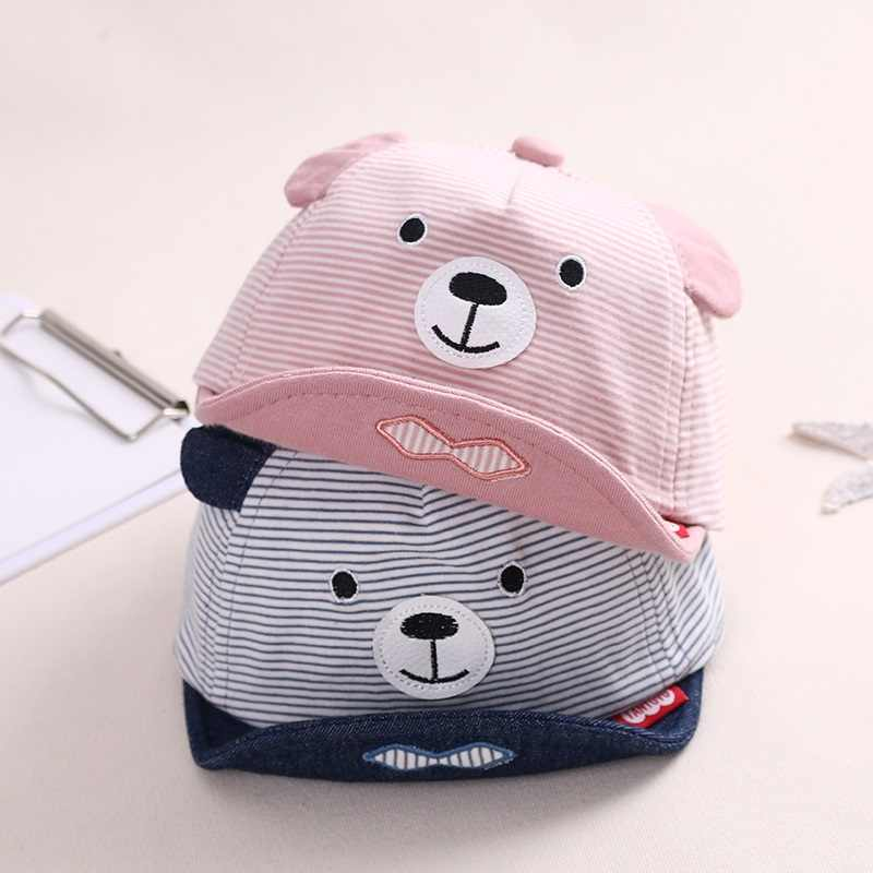 spring fall Baby Cartoon bear Cap Newborn Baby Girl Boy Cotton Sun Cap Adjustable Baseball Caps Boys Girl Hip Hop Hats Caps