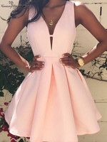 Blush Pink Short Homecoming Dresses 2020 Deep V Neck Backless Above Knee Satin Mini Simple Prom Party Gowns Cocktail Dress Cheap