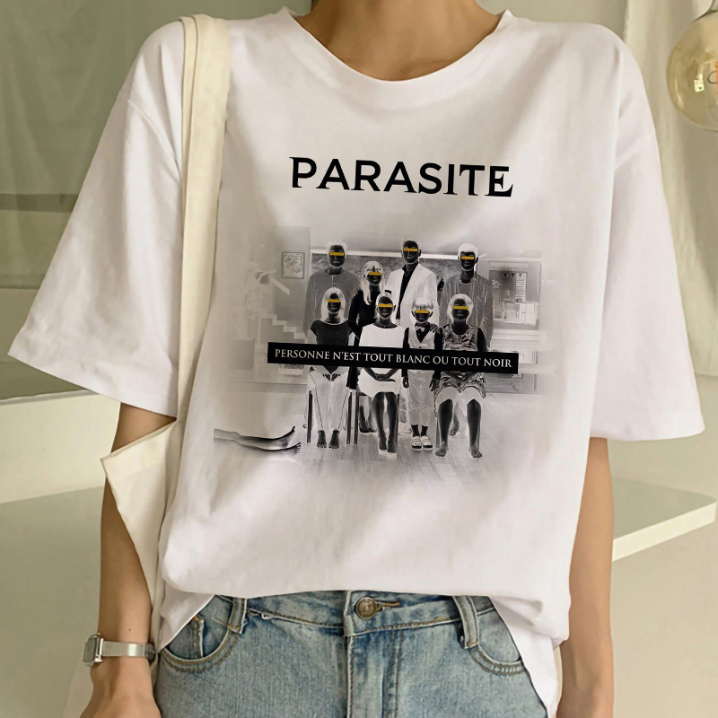 Parasite Movie Bottom Society 90s Graphic Aesthetic Tees T Shirt Women Short Sleeve O-neck White T Shirt Korean Style Clothes image