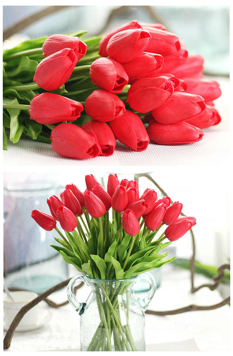 1PC Kamar Dekoratif Tulip Buatan Bunga Sentuh Artificiales Decora Buket Bunga untuk Rumah Pernikahan Hadiah Dekorasi Bunga