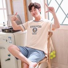 Мужчина% 27 Лето Пижамы хлопок с короткими рукавами Футболка Шорты пижамы комплект Плюс Размер Мужской Сон топы брюки одежда для сна Домашняя одежда пижама