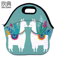 sales Thermal lunch bag printing romantic love Alpaca pattern portable thermal preservation
