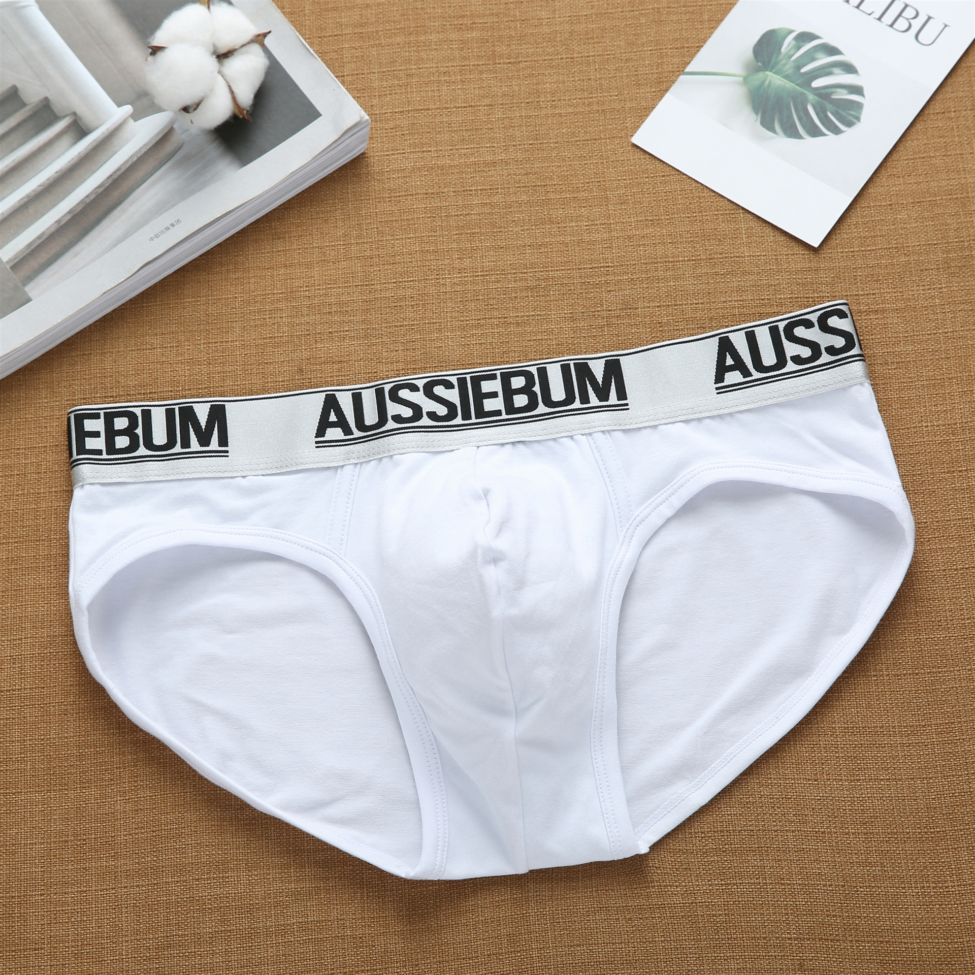 Aussiebum men's cotton comfortable low waist elastic tide letter briefs youth underwear 2
