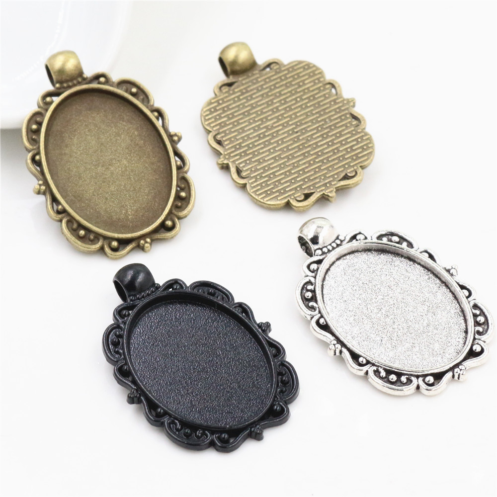5pcs 18x25mm Inner Size Antique Silver Plated Bronze And Black Plated Cameo Base Setting Charms Pendant Necklace Findings